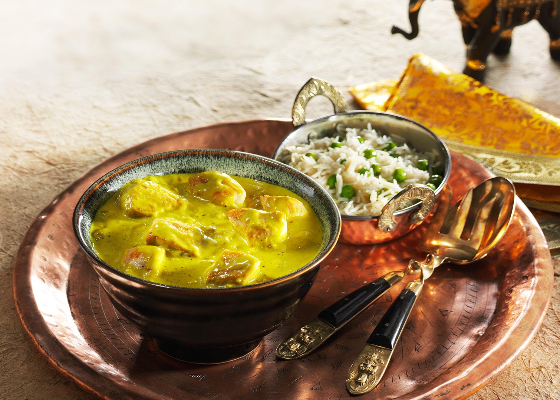 Chicken Korma mit Basmati-Erbsen-Reis